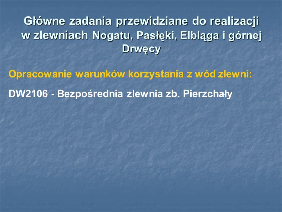 Główne zadania przewidziane do realizacji w zlewniach Nogatu, Pasłęki, Elbląga i górnej Drwęcy Opracowanie warunków korzystania z wód zlewni: DW2106 - Bezpośrednia zlewnia zb.