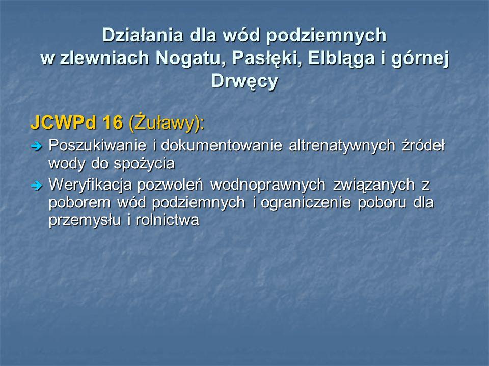 Działania dla wód podziemnych w zlewniach Nogatu, Pasłęki, Elbląga i górnej Drwęcy JCWPd 16 (Żuławy): Poszukiwanie i dokumentowanie altrenatywnych źródeł wody do spożycia Poszukiwanie i dokumentowanie altrenatywnych źródeł wody do spożycia Weryfikacja pozwoleń wodnoprawnych związanych z poborem wód podziemnych i ograniczenie poboru dla przemysłu i rolnictwa Weryfikacja pozwoleń wodnoprawnych związanych z poborem wód podziemnych i ograniczenie poboru dla przemysłu i rolnictwa