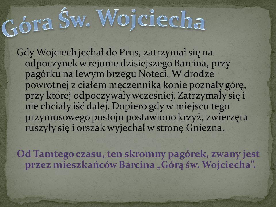 Gdy Wojciech jechał do Prus, zatrzymał się na odpoczynek w rejonie dzisiejszego Barcina, przy pagórku na lewym brzegu Noteci. W drodze powrotnej z cia