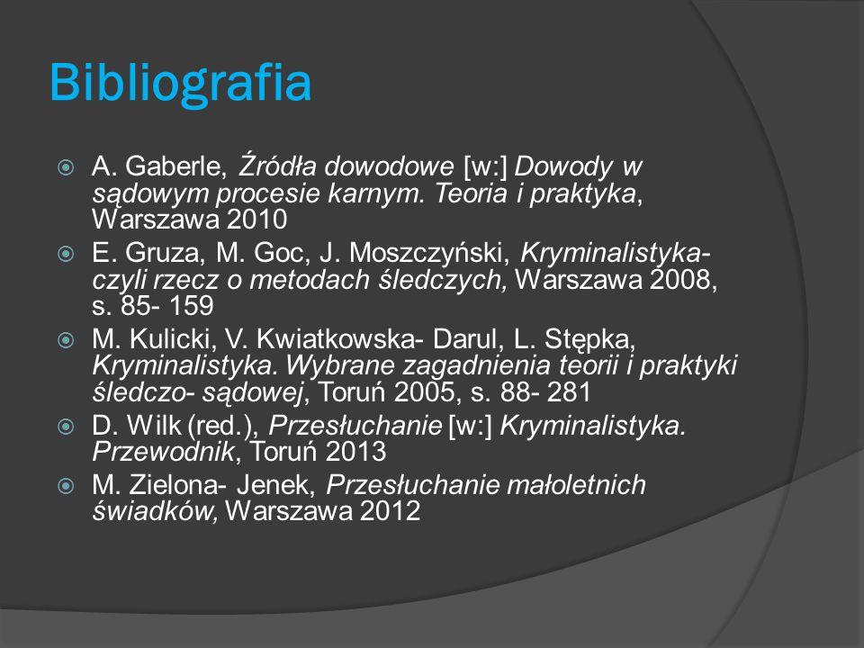 Bibliografia A. Gaberle, Źródła dowodowe [w:] Dowody w sądowym procesie karnym. Teoria i praktyka, Warszawa 2010 E. Gruza, M. Goc, J. Moszczyński, Kry