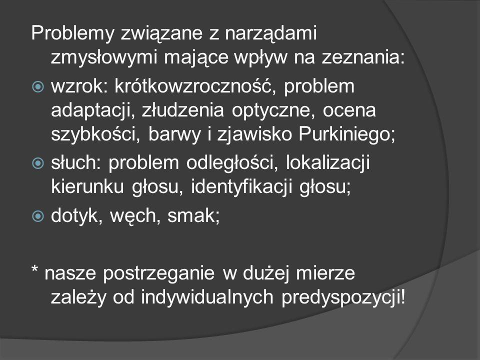 Problemy związane z narządami zmysłowymi mające wpływ na zeznania: wzrok: krótkowzroczność, problem adaptacji, złudzenia optyczne, ocena szybkości, ba