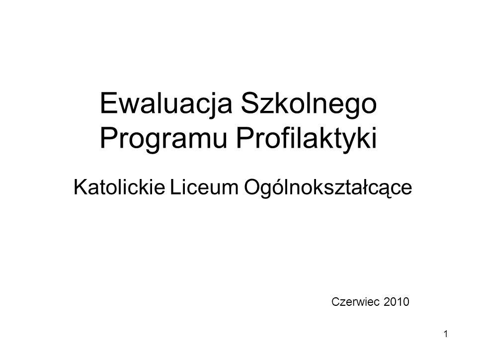 1 Ewaluacja Szkolnego Programu Profilaktyki Katolickie Liceum Ogólnokształcące Czerwiec 2010
