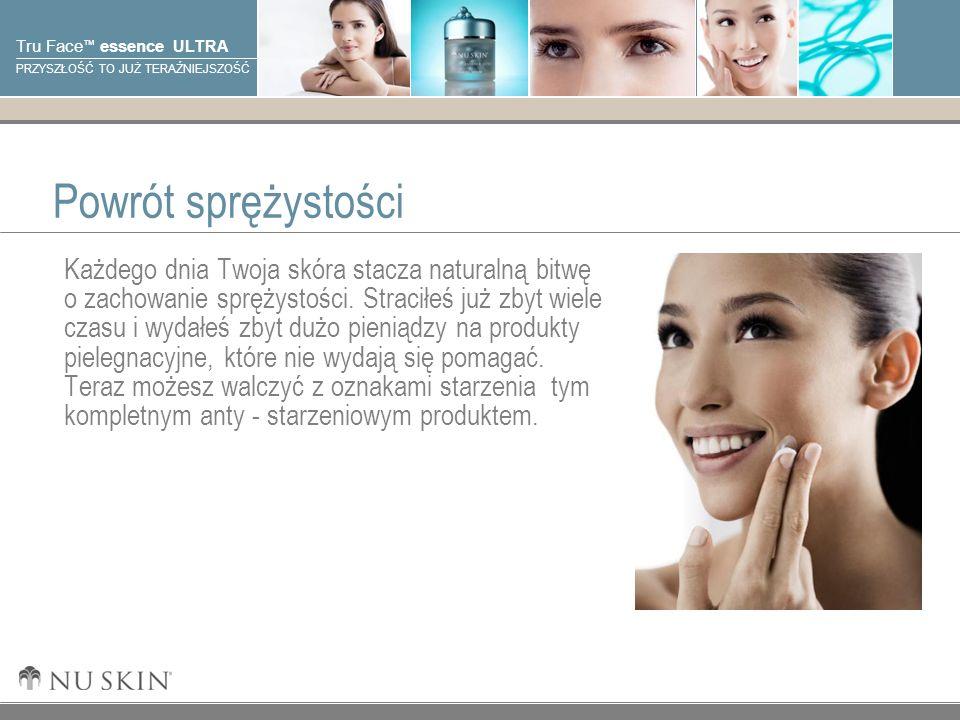 © 2001 Nu Skin International, Inc Tru Face essence ULTRA PRZYSZŁOŚĆ TO JUŻ TERAŹNIEJSZOŚĆ Powrót sprężystości Każdego dnia Twoja skóra stacza naturalną bitwę o zachowanie sprężystości.