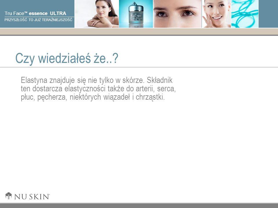© 2001 Nu Skin International, Inc Tru Face essence ULTRA PRZYSZŁOŚĆ TO JUŻ TERAŹNIEJSZOŚĆ Cele Po zapoznaniu się z tą prezentacją, powinieneś posiąść wiedzę na następujące zagadnienia: Białka strukturalne skóry Starzenie się skóry i elastyna Działanie Tru Face Essence Ultra w celu zwiększenia poziomu elastyny Kluczowe korzyści i składniki Tru Face Essence Ultra