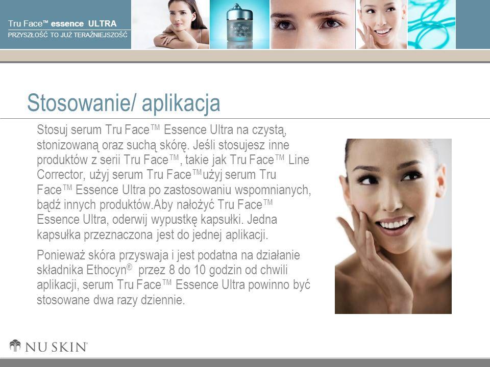 © 2001 Nu Skin International, Inc Tru Face essence ULTRA PRZYSZŁOŚĆ TO JUŻ TERAŹNIEJSZOŚĆ Stosowanie/ aplikacja Stosuj serum Tru Face Essence Ultra na czystą, stonizowaną oraz suchą skórę.