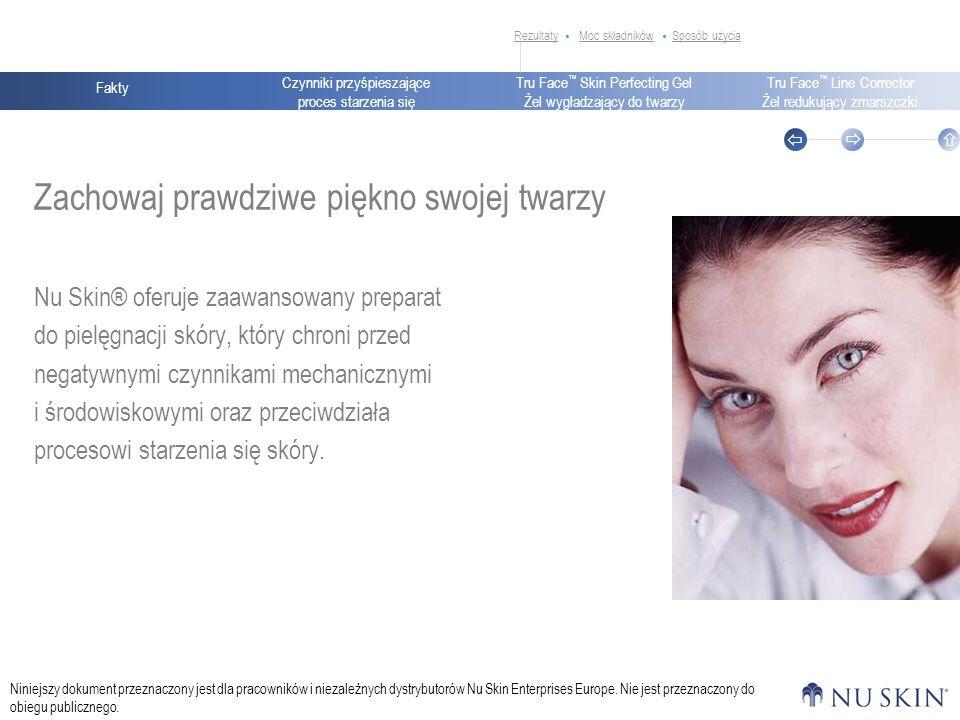 Czynniki przyśpieszające proces starzenia się Fakty Tru Face Skin Perfecting Gel Żel wygładzający do twarzy Tru Face Line Corrector Żel redukujący zmarszczki Niniejszy dokument przeznaczony jest dla pracowników i niezależnych dystrybutorów Nu Skin Enterprises Europe.