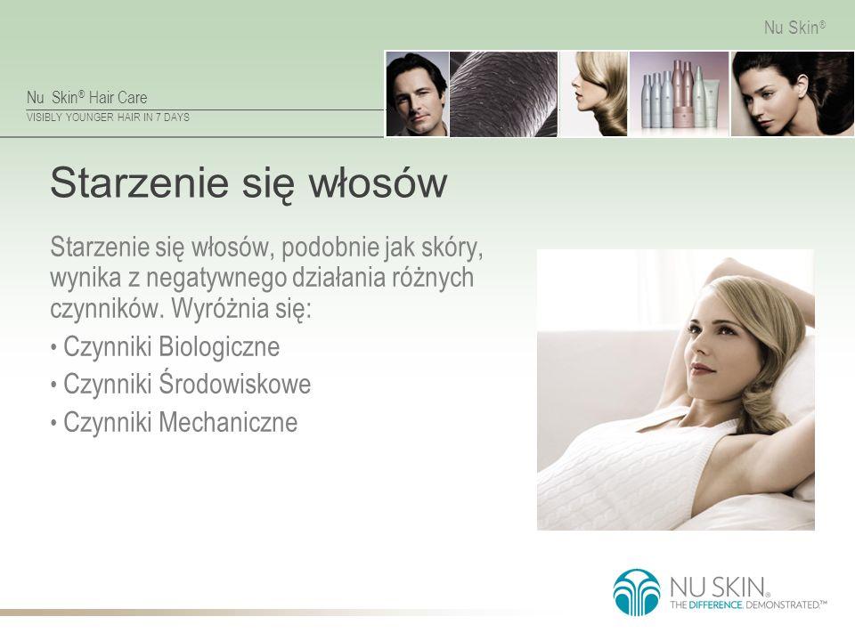 Nu Skin ® Hair Care VISIBLY YOUNGER HAIR IN 7 DAYS Nu Skin ® Starzenie się włosów Starzenie się włosów, podobnie jak skóry, wynika z negatywnego działania różnych czynników.