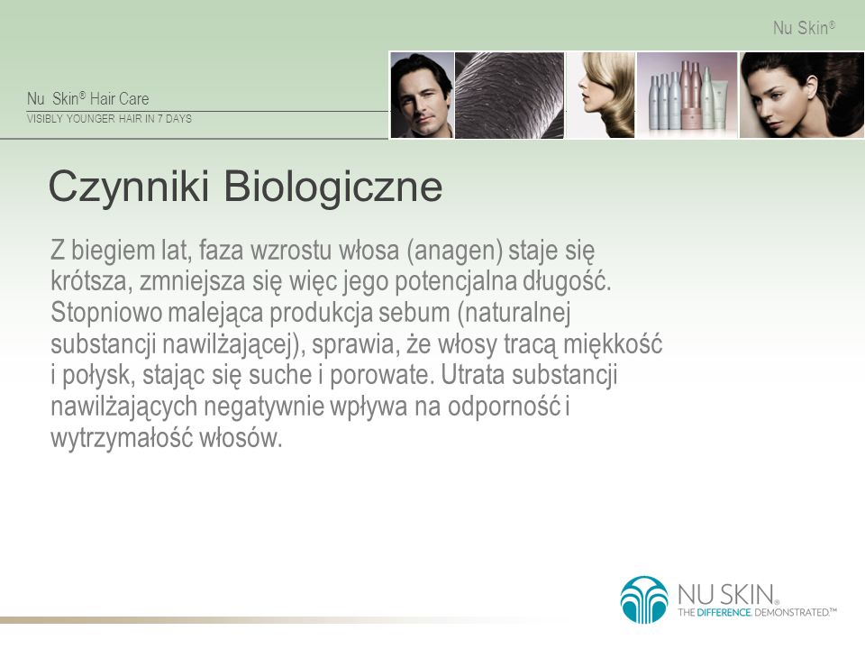 Nu Skin ® Hair Care VISIBLY YOUNGER HAIR IN 7 DAYS Nu Skin ® Czynniki Biologiczne Z biegiem lat, faza wzrostu włosa (anagen) staje się krótsza, zmniejsza się więc jego potencjalna długość.
