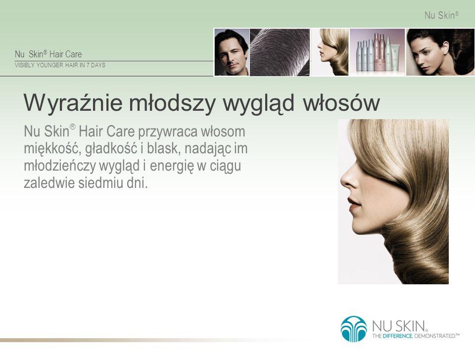 Nu Skin ® Hair Care VISIBLY YOUNGER HAIR IN 7 DAYS Nu Skin ® Wyraźnie młodszy wygląd włosów Nu Skin ® Hair Care przywraca włosom miękkość, gładkość i blask, nadając im młodzieńczy wygląd i energię w ciągu zaledwie siedmiu dni.