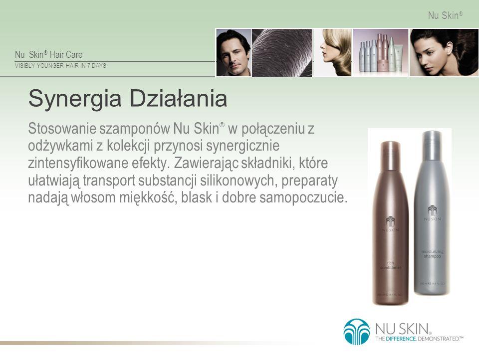 Nu Skin ® Hair Care VISIBLY YOUNGER HAIR IN 7 DAYS Nu Skin ® Synergia Działania Stosowanie szamponów Nu Skin ® w połączeniu z odżywkami z kolekcji przynosi synergicznie zintensyfikowane efekty.
