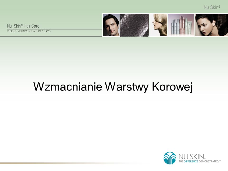 Nu Skin ® Hair Care VISIBLY YOUNGER HAIR IN 7 DAYS Nu Skin ® Wzmacnianie Warstwy Korowej