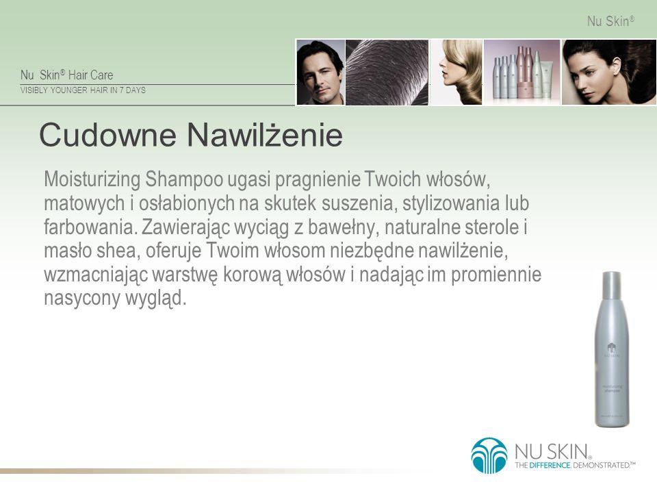 Nu Skin ® Hair Care VISIBLY YOUNGER HAIR IN 7 DAYS Nu Skin ® Cudowne Nawilżenie Moisturizing Shampoo ugasi pragnienie Twoich włosów, matowych i osłabionych na skutek suszenia, stylizowania lub farbowania.