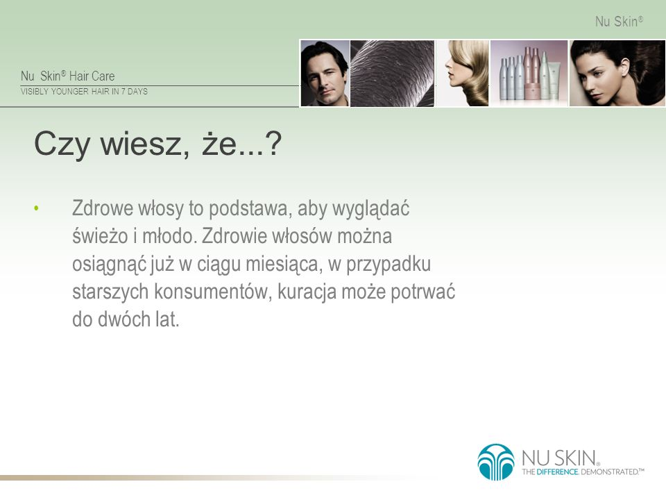 Nu Skin ® Hair Care VISIBLY YOUNGER HAIR IN 7 DAYS Nu Skin ® Czy wiesz, że....