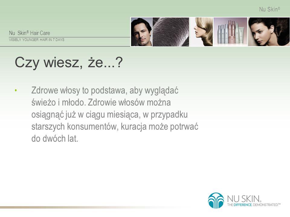 Nu Skin ® Hair Care VISIBLY YOUNGER HAIR IN 7 DAYS Nu Skin ® Czynniki Biologiczne Z biegiem lat, faza wzrostu włosa (anagen) staje się krótsza, zmniejsza się więc jego potencjalna długość.