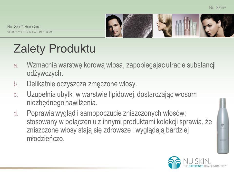 Nu Skin ® Hair Care VISIBLY YOUNGER HAIR IN 7 DAYS Nu Skin ® Zalety Produktu a. Wzmacnia warstwę korową włosa, zapobiegając utracie substancji odżywcz
