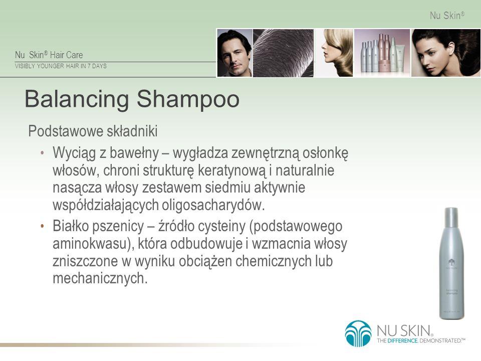 Nu Skin ® Hair Care VISIBLY YOUNGER HAIR IN 7 DAYS Nu Skin ® Balancing Shampoo Podstawowe składniki Wyciąg z bawełny – wygładza zewnętrzną osłonkę włosów, chroni strukturę keratynową i naturalnie nasącza włosy zestawem siedmiu aktywnie współdziałających oligosacharydów.