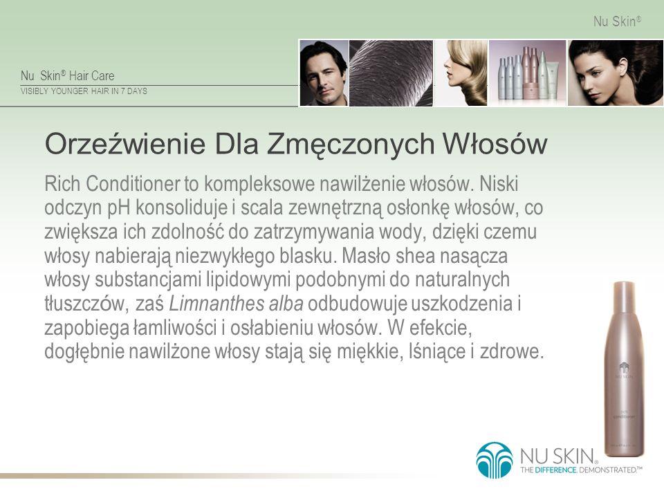 Nu Skin ® Hair Care VISIBLY YOUNGER HAIR IN 7 DAYS Nu Skin ® Orzeźwienie Dla Zmęczonych Włosów Rich Conditioner to kompleksowe nawilżenie włosów.