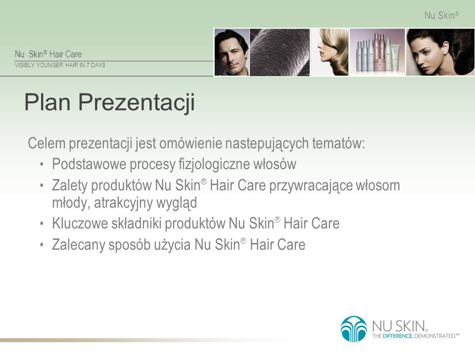 Nu Skin ® Hair Care VISIBLY YOUNGER HAIR IN 7 DAYS Nu Skin ® Życie Włosa