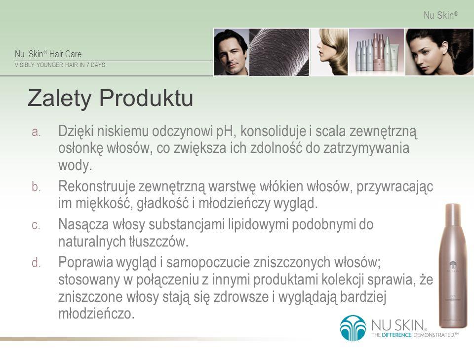 Nu Skin ® Hair Care VISIBLY YOUNGER HAIR IN 7 DAYS Nu Skin ® Zalety Produktu a. Dzięki niskiemu odczynowi pH, konsoliduje i scala zewnętrzną osłonkę w