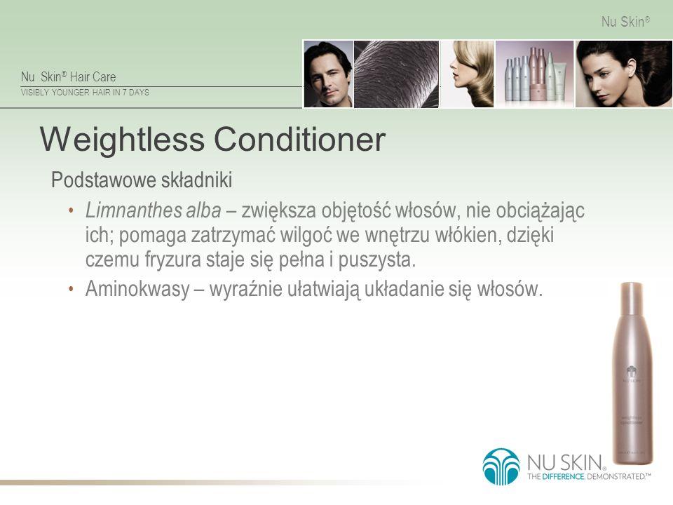Nu Skin ® Hair Care VISIBLY YOUNGER HAIR IN 7 DAYS Nu Skin ® Weightless Conditioner Podstawowe składniki Limnanthes alba – zwiększa objętość włosów, nie obciążając ich; pomaga zatrzymać wilgoć we wnętrzu włókien, dzięki czemu fryzura staje się pełna i puszysta.