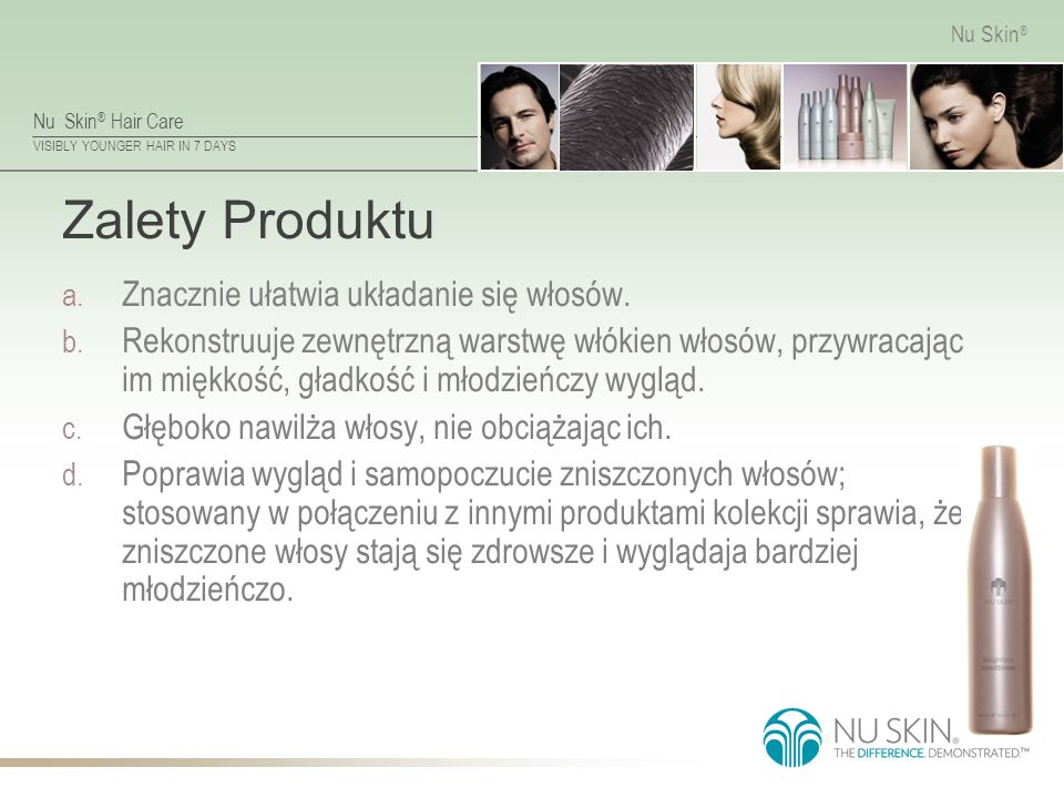 Nu Skin ® Hair Care VISIBLY YOUNGER HAIR IN 7 DAYS Nu Skin ® Zalety Produktu a.