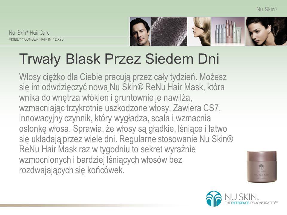 Nu Skin ® Hair Care VISIBLY YOUNGER HAIR IN 7 DAYS Nu Skin ® Trwały Blask Przez Siedem Dni Włosy ciężko dla Ciebie pracują przez cały tydzień.