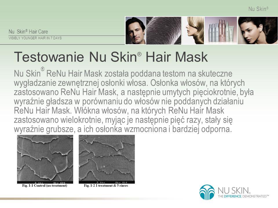 Nu Skin ® Hair Care VISIBLY YOUNGER HAIR IN 7 DAYS Nu Skin ® Testowanie Nu Skin ® Hair Mask Nu Skin ® ReNu Hair Mask została poddana testom na skutecz
