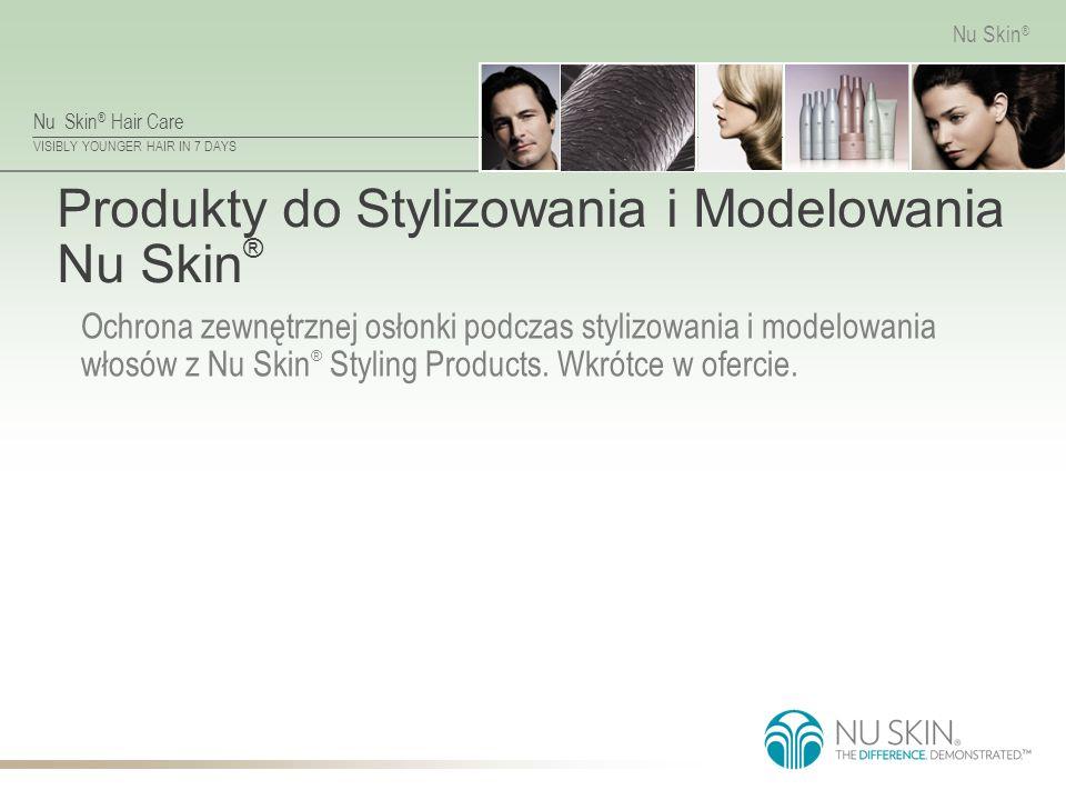 Nu Skin ® Hair Care VISIBLY YOUNGER HAIR IN 7 DAYS Nu Skin ® Produkty do Stylizowania i Modelowania Nu Skin ® Ochrona zewnętrznej osłonki podczas styl