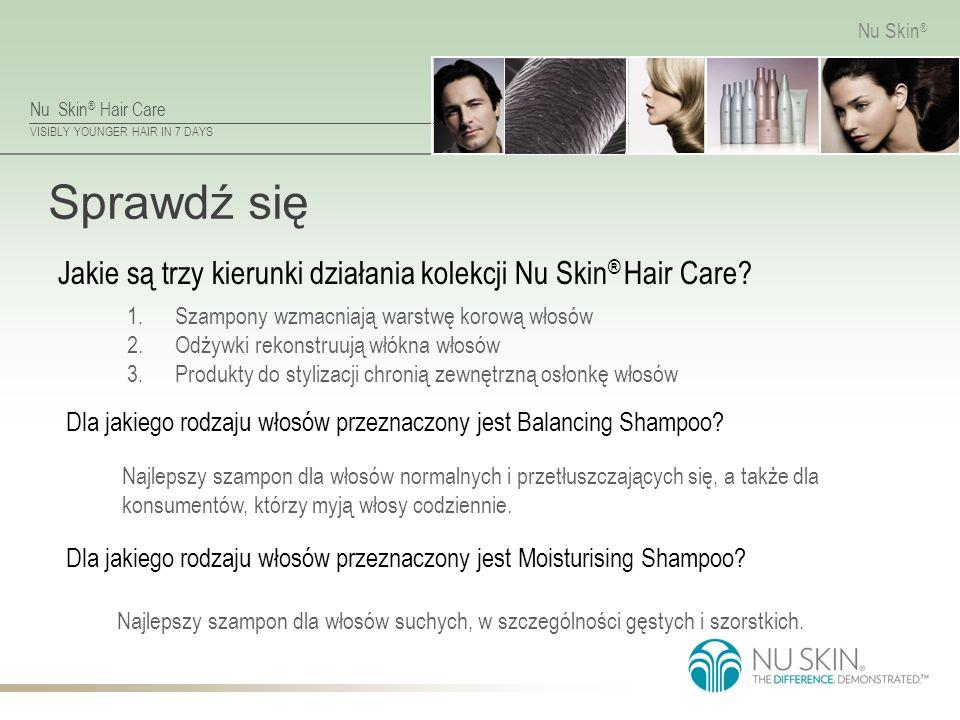 Nu Skin ® Hair Care VISIBLY YOUNGER HAIR IN 7 DAYS Nu Skin ® Sprawdź się Najlepszy szampon dla włosów suchych, w szczególności gęstych i szorstkich.