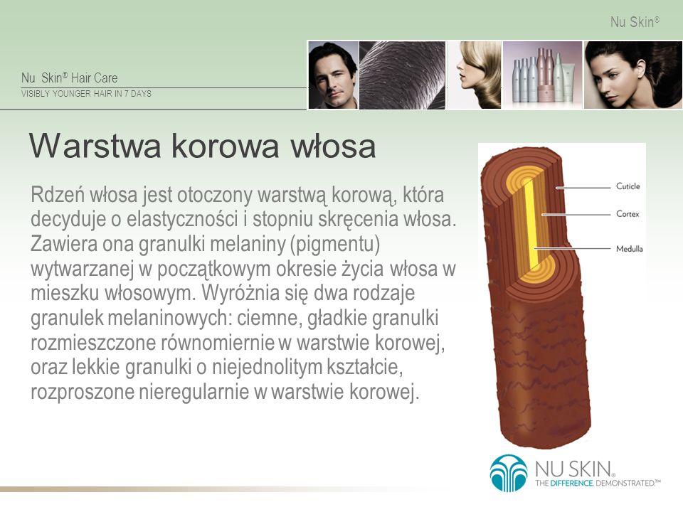 Nu Skin ® Hair Care VISIBLY YOUNGER HAIR IN 7 DAYS Nu Skin ® Osłonka Włosa Osłonka to zewnętrzna warstwa trzonu włosa odpowiedzialna za mechaniczną odporność jego włókna.