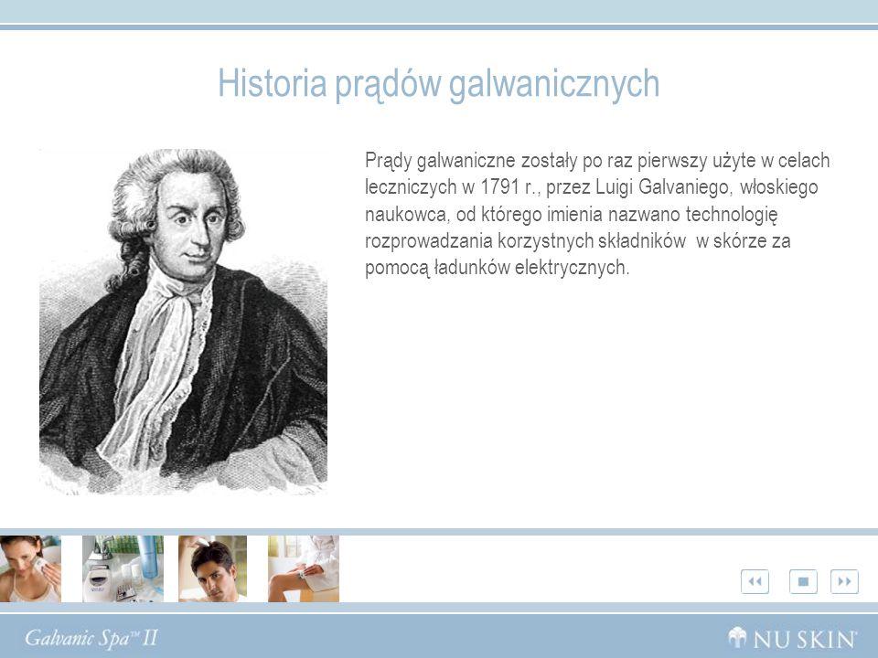 Prądy galwaniczne zostały po raz pierwszy użyte w celach leczniczych w 1791 r., przez Luigi Galvaniego, włoskiego naukowca, od którego imienia nazwano technologię rozprowadzania korzystnych składników w skórze za pomocą ładunków elektrycznych.
