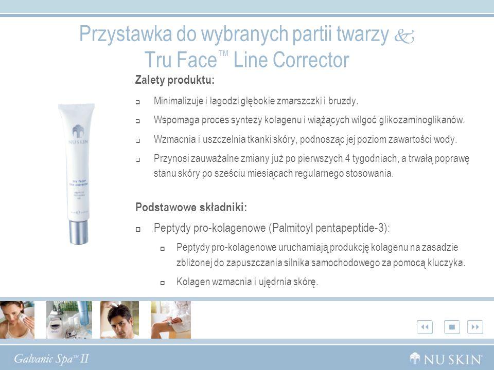 Przystawka do wybranych partii twarzy Tru Face Line Corrector Zalety produktu: Minimalizuje i łagodzi głębokie zmarszczki i bruzdy. Wspomaga proces sy
