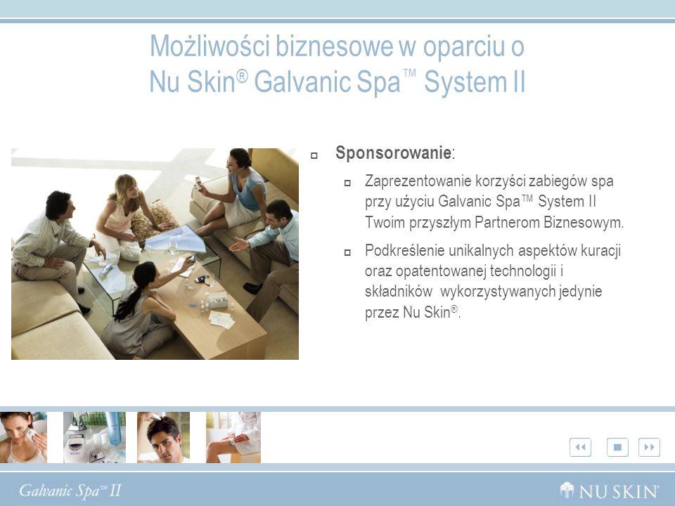 Sponsorowanie : Zaprezentowanie korzyści zabiegów spa przy użyciu Galvanic Spa System II Twoim przyszłym Partnerom Biznesowym. Podkreślenie unikalnych