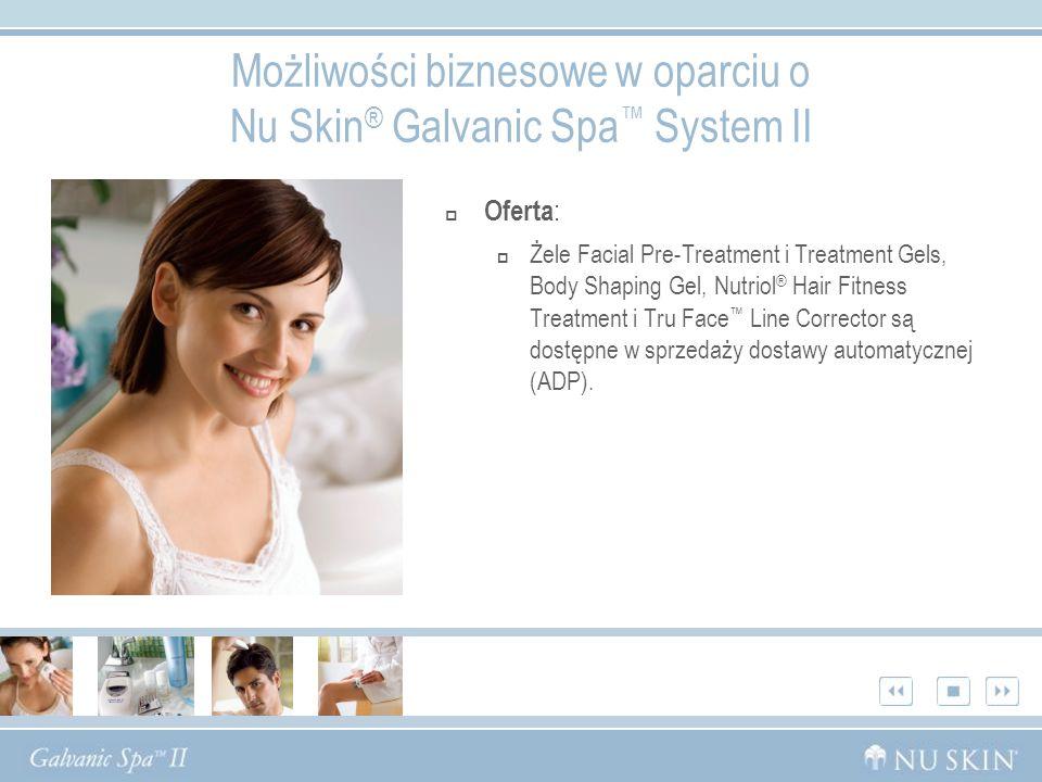 Możliwości biznesowe w oparciu o Nu Skin ® Galvanic Spa System II Oferta : Żele Facial Pre-Treatment i Treatment Gels, Body Shaping Gel, Nutriol ® Hair Fitness Treatment i Tru Face Line Corrector są dostępne w sprzedaży dostawy automatycznej (ADP).