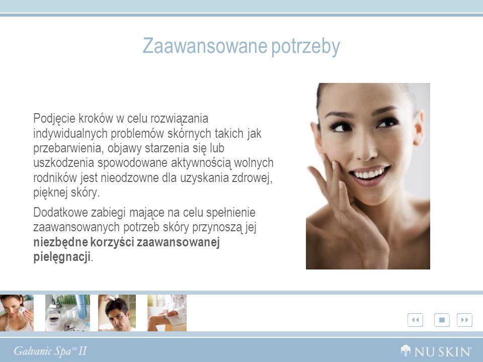 Zaawansowane potrzeby Podjęcie kroków w celu rozwiązania indywidualnych problemów skórnych takich jak przebarwienia, objawy starzenia się lub uszkodze
