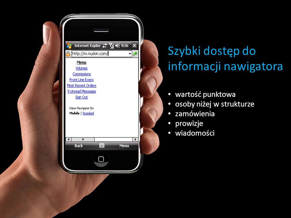 Szybki dostęp do informacji nawigatora wartość punktowa osoby niżej w strukturze zamówienia prowizje wiadomości