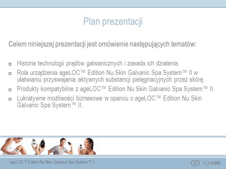 ageLOC Edition Nu Skin Galvanic Spa System II Plan prezentacji Celem niniejszej prezentacji jest omówienie następujących tematów: Historia technologii