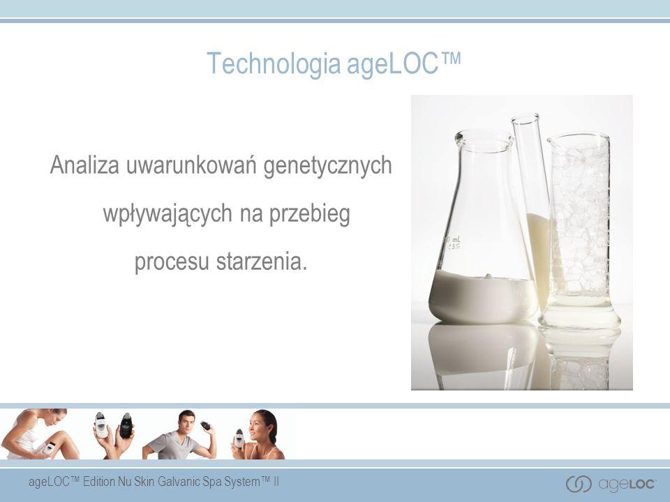 ageLOC Edition Nu Skin Galvanic Spa System II Technologia ageLOC Analiza uwarunkowań genetycznych wpływających na przebieg procesu starzenia.