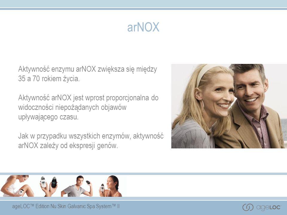 ageLOC Edition Nu Skin Galvanic Spa System II arNOX Aktywność enzymu arNOX zwiększa się między 35 a 70 rokiem życia. Aktywność arNOX jest wprost propo