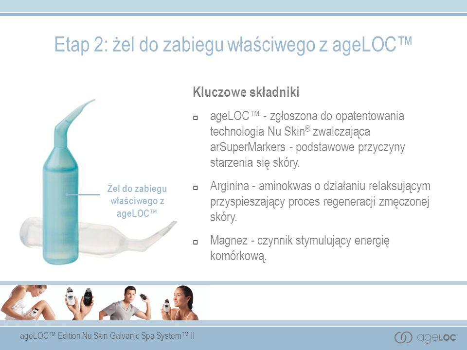 ageLOC Edition Nu Skin Galvanic Spa System II Żel do zabiegu właściwego z ageLOC Kluczowe składniki ageLOC - zgłoszona do opatentowania technologia Nu