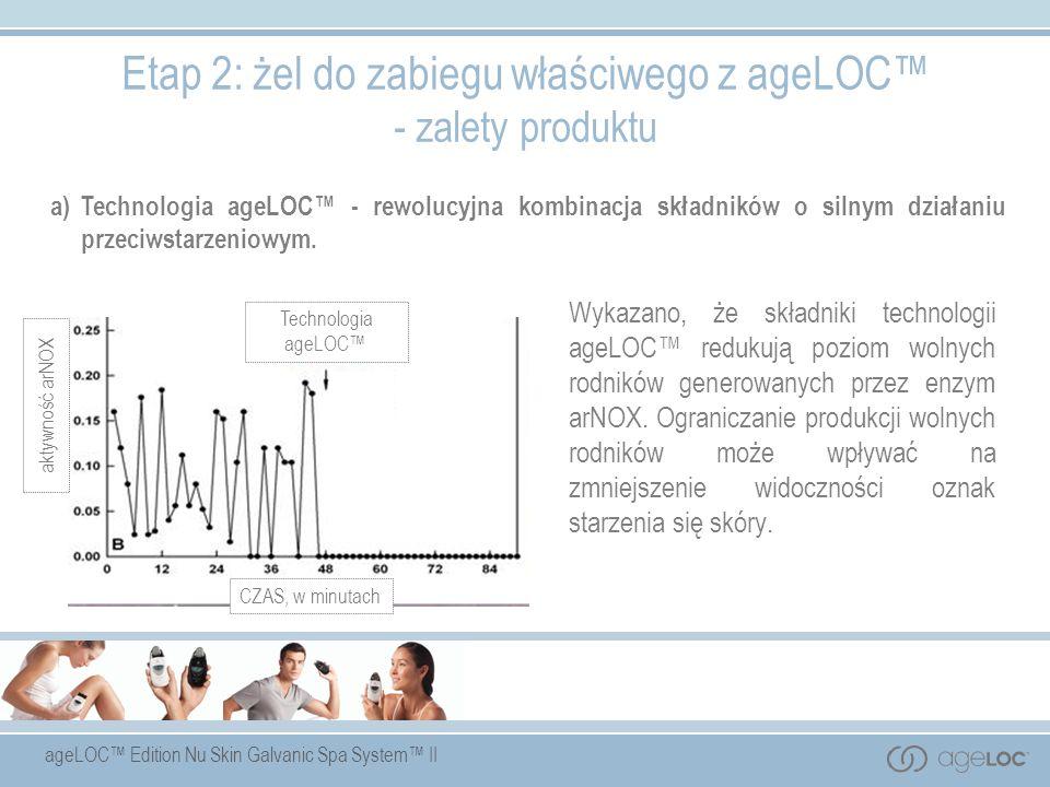 ageLOC Edition Nu Skin Galvanic Spa System II Wykazano, że składniki technologii ageLOC redukują poziom wolnych rodników generowanych przez enzym arNO