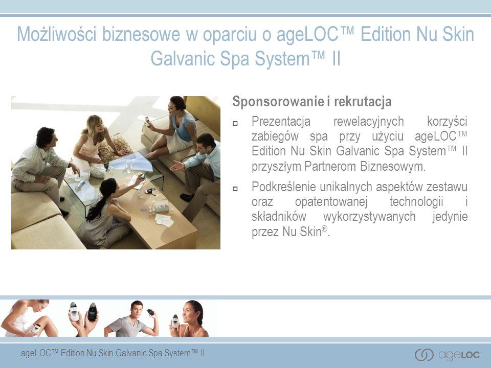 ageLOC Edition Nu Skin Galvanic Spa System II Sponsorowanie i rekrutacja Prezentacja rewelacyjnych korzyści zabiegów spa przy użyciu ageLOC Edition Nu