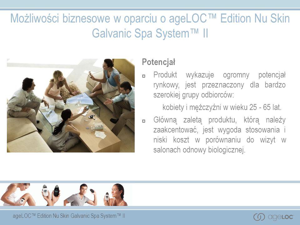 ageLOC Edition Nu Skin Galvanic Spa System II Potencjał Produkt wykazuje ogromny potencjał rynkowy, jest przeznaczony dla bardzo szerokiej grupy odbio
