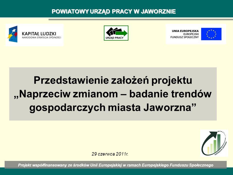 Przedstawienie założeń projektu Naprzeciw zmianom – badanie trendów gospodarczych miasta Jaworzna Projekt współfinansowany ze środków Unii Europejskie
