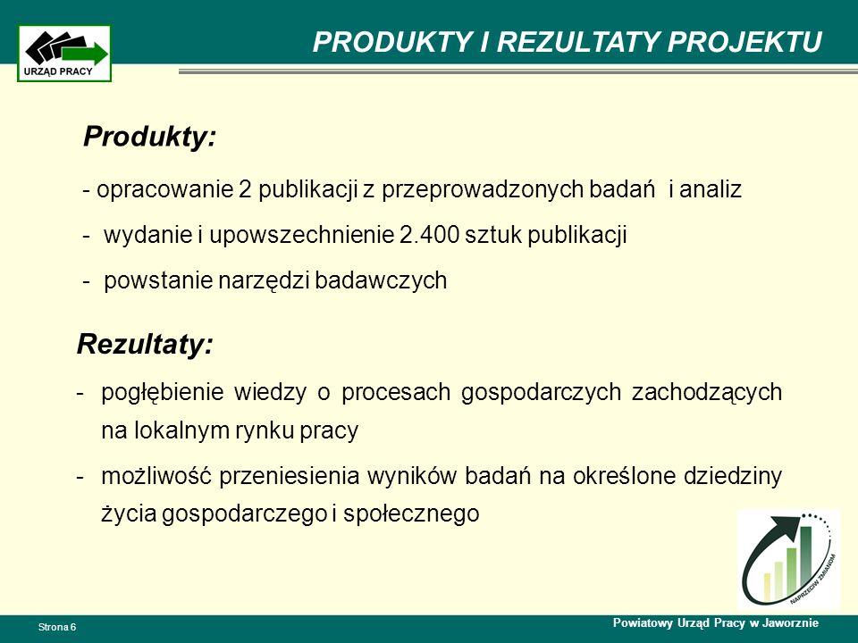 PRODUKTY I REZULTATY PROJEKTU Powiatowy Urząd Pracy w Jaworznie Strona 6 Rezultaty: -pogłębienie wiedzy o procesach gospodarczych zachodzących na lokalnym rynku pracy -możliwość przeniesienia wyników badań na określone dziedziny życia gospodarczego i społecznego Produkty: - opracowanie 2 publikacji z przeprowadzonych badań i analiz - wydanie i upowszechnienie 2.400 sztuk publikacji - powstanie narzędzi badawczych