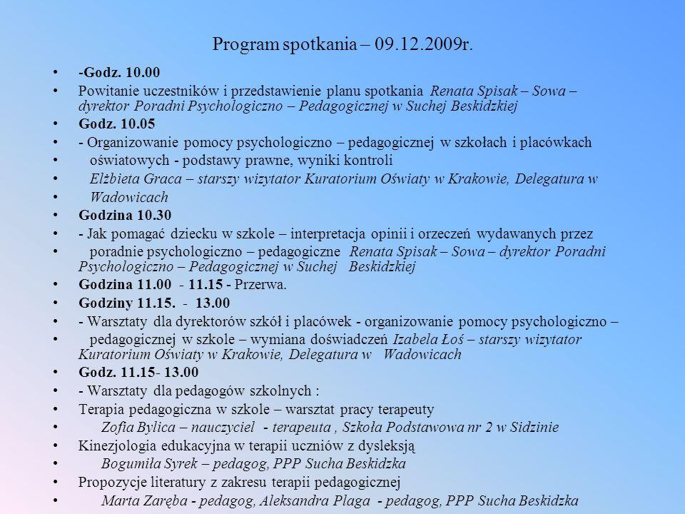 Program spotkania – 09.12.2009r.-Godz.