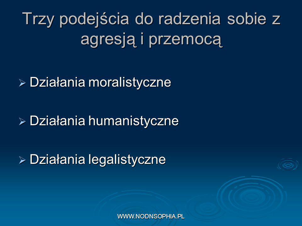 WWW.NODNSOPHIA.PL Trzy podejścia do radzenia sobie z agresją i przemocą Działania moralistyczne Działania moralistyczne Działania humanistyczne Działania humanistyczne Działania legalistyczne Działania legalistyczne