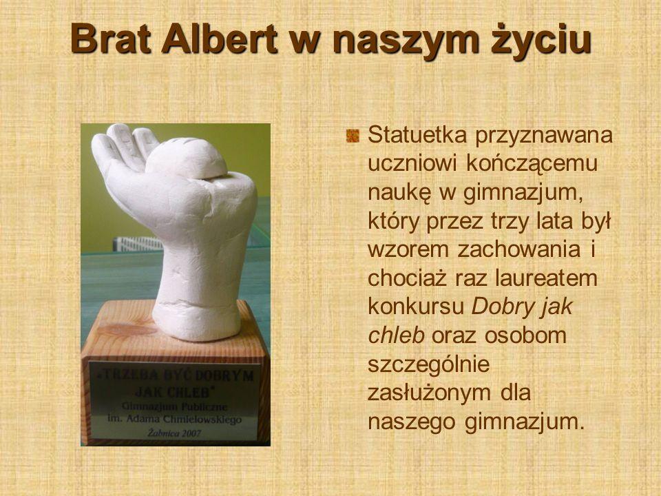 Brat Albert w naszym życiu Statuetka przyznawana uczniowi kończącemu naukę w gimnazjum, który przez trzy lata był wzorem zachowania i chociaż raz laur