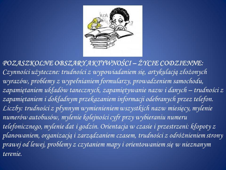 WSKAZANIA DO PRACY: zapoznać się z opinią PPP lub innej poradni specjalistycznej i realizować zalecenia i wskazania do pracy, dostosować wymagania edukacyjne do specyficznych trudności dziecka, indywidualne podchodzić do dziecka (zawarcie kontraktu – ustalenie sposobu pracy na lekcji i w domu) współpraca z pedagogiem, terapeutą, psychologiem, współpraca nauczycieli (wymiana informacji i doświadczeń) w ramach zespołów istniejących w szkole, różnorodne metody i formy pracy z dzieckiem dyslektycznym w zespołach kompensacyjno- korekcyjnych, kierować procesem samokształcenia i samokontroli ucznia, pokazać uczniom dyslektycznym ich mocnych stron (podnoszenie poczucia własnej wartości np.