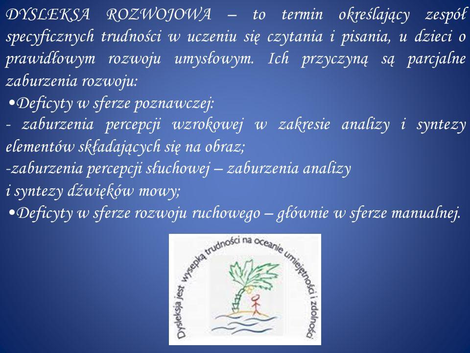 W Polsce najczęściej stosuje się następującą terminologię: -DYSLEKSJA – nazwa całego zespołu trudności w czytaniu i pisaniu; -DYSORTOGRAFIA – specyficzne trudności z opanowaniem poprawnej pisowni (błędy ortograficzne); - DYSGRAFIA – trudności w opanowaniu pożądanego poziomu graficznego pisma; - DYSKALKULIA – trudności z uczeniem się matematyki; - DYSMUZJA – specyficzne trudności w uczeniu się muzyki np.